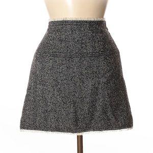 J Crew Black Wool Herringbone Skirt Size 4